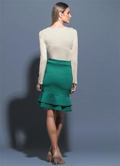 Saia Midi Fit And Flare Verde - Posthaus