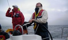 Gwyn Topham at the helm, Scotland