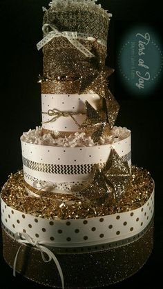 4 Tier Twinkle Twinkle Little Star Diaper Cake 70 Diapers 4 Gold Star Nursery Ornaments **Shoes sold separately** Baby Nappy Cakes, Princess Diaper Cakes, Baby Tiara, Etsy Co, Welcome Home Baby, Gift Cake, Twinkle Twinkle Little Star, Baby Shower Centerpieces, Baby Boots