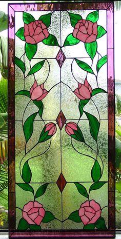 "Mirrored Rose Vine Panel 14"" x 30"""