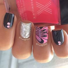 Black pink & silver nail art design