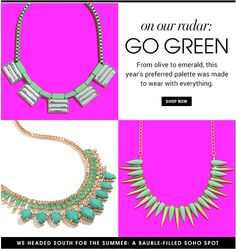 These days I'm really into emeraldy, green jewelry