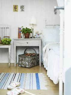 small scandinavian cottage tiny little window less bedroom with just enough room for sleeping. Black Bedroom Furniture Sets. Home Design Ideas