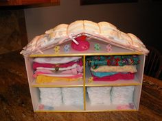 Dollhouse. Diapers for roof.