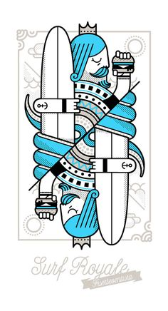 Surf Royale by Dario Genuardi, via Behance Line Illustration, Graphic Design Illustration, Symbole Tattoo, Playing Cards Art, Surf Art, New Art, Illustrations Posters, Vector Art, Surfing