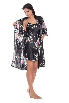 Joy Bridalc Women s Kimono Robe Gorgeous Loungewear 2PC Set Sleepwear  Camisole   Robe 790004560