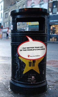 Save the Children - Feed Me | #public #elevator #print #sticker #banner #streets #awareness #creative #guerillamarketing #ambient #btl