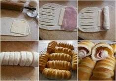 DIY Baked Buns Filled With Ham And Cheese - Find Fun Art Projects to Do at Home and Arts and Crafts Ideas neat idea for finger food appetizers Think Food, Love Food, Bread Shaping, Bread Appetizers, How To Make Sandwich, Ham And Cheese, Creative Food, Diy Food, Finger Foods