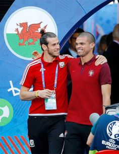 Euro 2016: Club teammates Gareth Bale and Pepe greet each other before the SF kickoff