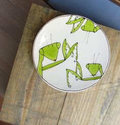 Loving this paper cut art as a quirky easter gift idea praying mantis plate funny valentine quirky gift insect with mustache for the gardener negle Images