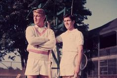 #TBT A classic Slim Aarons shot of Lew Hoad and Ken Rosewall at ITHF during Newport #Tennis Week, circa 1953!