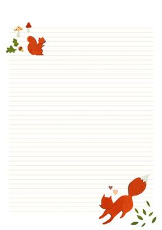 Cute Fox and Flowers Writing Paper | Free Printables