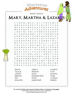Enjoy our free Bible Word Search: Mary, Martha & Lazarus. Fun for kids to print and learn more about the Bible. Feel free to share with others, too! Bible School Crafts, Bible Crafts For Kids, Bible Study For Kids, Kids Bible, Preschool Bible, Kid Crafts, Sunday School Activities, Bible Activities, Sunday School Lessons
