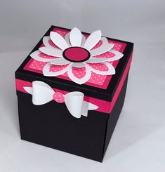 Pink and Black Floral Birthday Card, Explosion Box Card, Age Card Cool Paper Crafts, Diy And Crafts, Birthday Explosion Box, Exploding Gift Box, Valentines Gift Box, Butterfly Decorations, Candy Gifts, Pop Up Cards, Paper Flowers
