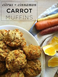 Citrus and Cinnamon Carrot Muffins | Healthy and full of fiber but still kid-friendly. Keep these carrot muffins in the freezer for easy breakfasts or to throw in your kid's lunchbox (it'll thaw by lunch time)!  http://www.frecklesinapril.com/2015/08/citrus-cinnamon-carrot-muffins.html