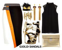 """Micro Trend: Solid Gold Sandals"" by joslynaurora on Polyvore featuring moda, River Island, Giuseppe Zanotti, Cushnie Et Ochs, Golden Goose, Chloé, CC SKYE, Fendi y goldsandals"