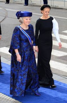 HRH Princess Beatrix and Princess Mabel of the Netherlands. Princess Mabel is the wife of Prince Friso, who tragically has been in a coma for a considerable amount of time  4/30/13