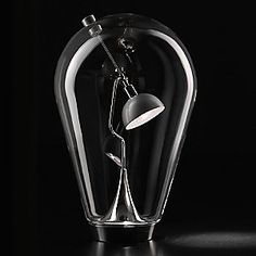 Here's a beautiful table lamp!.. It's the Blow Table Lamp by Studio Italia Design.. Although past my personal budget.. It's definitely an object of inspiration.. Chrome and brushed aluminum low-voltage lamp encased in a clear crystal bulb.. One cool bonus feature is that the lamp direction is controlled via an exterior magnet.. which is also part of the piece.. I think I could spend hours just playing with this thing!!! Nice..