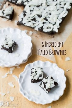 Easy 5 Ingredient Paleo Brownies. Our fudgy brownie recipe tastes great and kicks cravings, while being raw, gluten free, vegan and paleo!