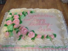 Sheet Cake A white cake with buttercream frosting , buttercream roses.