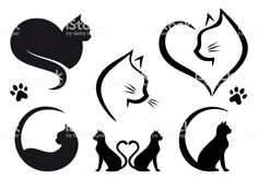 Cat logo designs with heart, set of vector graphic design elements # Cats logo Cat logo designs with heart, set of vector graphic design elements Cat Silhouette Tattoos, Silhouette Chat, Logo Design, Cat Design, Graphic Design, Design Set, Identity Design, Brand Identity, Dog Tattoos