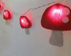 Felt Mushroom String Lights/Night light for Nursery by bubblewish