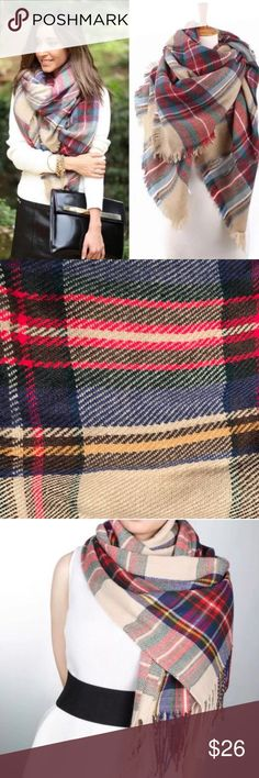 Blanket scarf plaid tartan oversized wrap pashmina New! Warm and wonderful oversized blanket scarf in a plaid tartan knit weave pattern.  Over 6 feet x 2 feet in size, this wrap can be worn in a variety of ways: standard, pashmina style, drapes, off the shoulders, tie the ends together of an infinity ring, even belted!  Tan green red blue. (J2) Accessories Scarves & Wraps