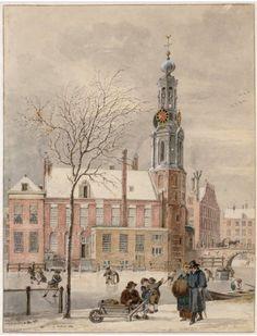 Een prachtig wintergezicht van de Munttoren gezien vanaf het Singel in 1807, getekend door Reinier Vinkeles. Een van de vele mooie tekeningen in de tentoonstelling Kijk Amsterdam in het Stadsarchief. Nog tot 14 januari te bewonderen!