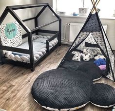 Lit Cabane TERY noir - BellyStar The TERY black cabin bed, a small wooden house greatly appreciated by children. Its original shape, its clean lines and the black color will bring a touch of mo Boy Toddler Bedroom, Baby Boy Room Decor, Toddler Rooms, Baby Bedroom, Baby Boy Rooms, Nursery Room, Girl Room, Kids Bedroom, Small Wooden House