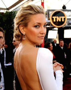 Kate Hudson - quiff - coif - messy updo - wedding hair