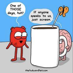 40 Heart and Brain cartoons from The Awkward Yeti — Unreal Side of entertainment Akward Yeti, The Awkward Yeti, Dankest Memes, Funny Memes, Hilarious, Funny Comebacks, Funniest Memes, Funny Signs, Heart And Brain Comic