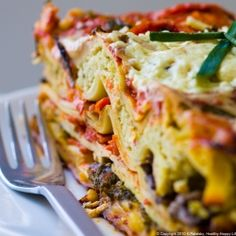 Garden Vegetable/Ricotta/Tofu Lasagna. Family-fave and 100% vegan.