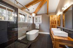 Contemporary Bathroom using charcoal black pebble tile shower pan and bathroom flooring.