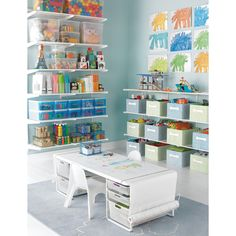 Love this kids craft room!  White elfa Playroom & Kids' Coloring Table