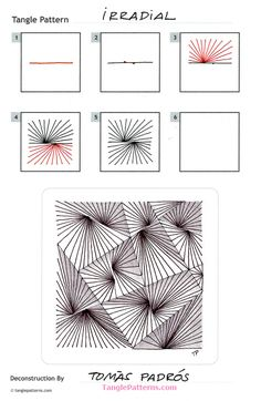 Online instructions for drawing Tomàs Padrós's Zentangle® pattern: Irradial. Zentangle Drawings, Doodles Zentangles, Zentangle Patterns, Doodle Drawings, Doodle Art, Zen Doodle Patterns, Tangle Doodle, Tangle Art, Art Inspiration Drawing
