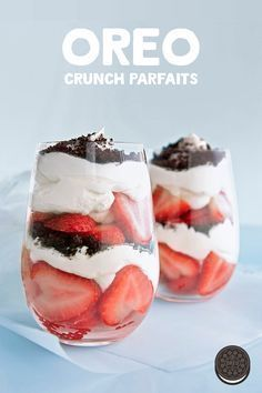 Crunch Parfait Recipe Whip up these easy, no bake OREO Crunch Parfaits for any day of the week - no special occasion needed.Whip up these easy, no bake OREO Crunch Parfaits for any day of the week - no special occasion needed. Easy Desserts, Delicious Desserts, Dessert Recipes, Yummy Food, Oreo Desserts, Passover Desserts, Delicious Cupcakes, Yummy Treats, Think Food