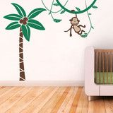 Palm Tree and Monkey Vinyl Wall Sticker Life Size in Kids Wall Stickers by Vinyl Impression