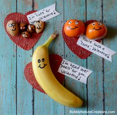 Fun Valentines! {w/ Fruit and Nuts} Perfect for a sack lunch, breakfast or just a healthy alternative to the sugary sweet stuff... so cute!