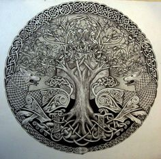 Wolf tree art - I want something like this tattooed on me or framed and put over my door.