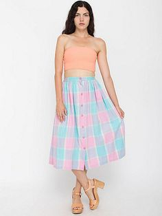 Vintage Pastel Madras Cotton Mid-Length Skirt