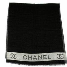 "Chanel Black Wool & Silk Signature ""CC"" Stole Scarf - $549.99"