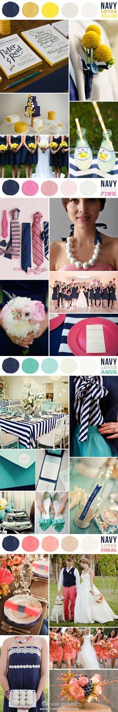I'm liking wedding color pallets with navy in them, today. Who knows what I'll end up liking when I get married!!