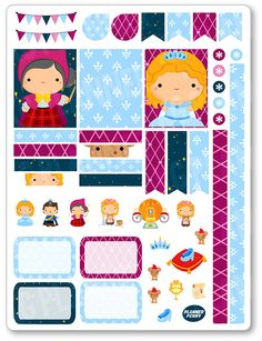 Glass Princess Decorating Kit / Weekly Spread Planner Stickers for Erin Condren…