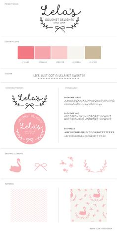 Bootstrap Branding + Building a Brand Board: Part 2 mock up brand board for Lela's Gourmet Delights via @Lela Johnson Barker