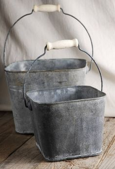 """19.00 SALE PRICE! Give your floral arrangements a French country look with this pair of flower shop pails with handles. The larger pail is 6-1/2"""" tall a..."""