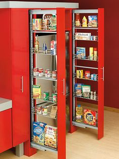 """""""Change your traditional pantry into pull-out shelves similar to a sideways drawer. These shelves are about five inches wide, perfect for storing boxes and cans. Also, with narrow shelves, it's easier to keep everything organized and in its own place."""""""