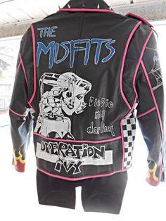 VTG Hand-Painted Studded Punk Leather Jacket The Misfits Subhumans Operation Ivy #Eagle #Motorcycle