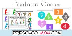 Free Preschool File Folder Games from Preschool Mom!  ABC, Alphabet, Numbers, Shapes, Community Helpers, Science, Life Cycle, Weather, Math, Ocean and many more!!  Free!