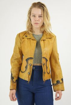 Vintage Psychedelic Yellow Western Leather Jacket by HillPeople