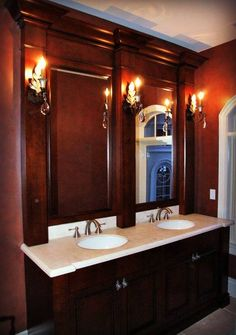 Washington brown cherry double vanity bathroom vanities bathroom - 1000 Images About Bathroom Ideas For Cherry Vanity On